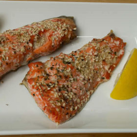 Grilled Salmon with Sesame Seeds